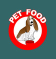 pet food red circle label with basset hound vector image vector image