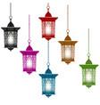 ramadan kareem six multi-colored lanterns in vector image vector image