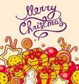 red and yellow christmas items and hand w vector image vector image