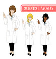 scientist woman pointing up with serious face vector image vector image