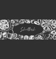 seafood and wine banner design on chalkboard vector image vector image