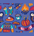 seamless autumn pattern with pumpkin jumper and vector image vector image