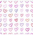 seamless pattern with hand drawn color hearts vector image vector image