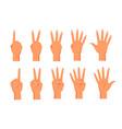 set hands showing fingers count vector image