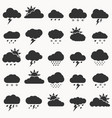 set weather icon black color on white vector image vector image