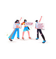 stop asian hate activists in masks holding banners vector image vector image