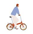 stylish man riding street folding bicycle vector image vector image