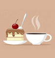 sweet cake and cup coffee vector image vector image