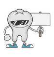 tooth cartoon with sunglasses holding sign vector image vector image