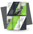 tri-fold brochure design template green vector image vector image