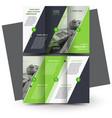 tri-fold brochure design template green vector image