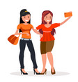 two girls girlfriends are doing selfie vector image vector image