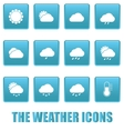 Weather icons on blue squares vector image