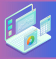 web analytics concept laptop computer with charts vector image