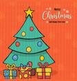 year pine tree gift cartoon card vector image vector image