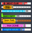 Zone entrance bracelets isolates concert or hotel vector image