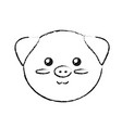 figure cute wild animal face with expression vector image