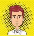 man face in a cartoon pop art comic style vector image