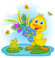 duckling with flowers vector image