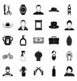 wild west icons set simple style vector image