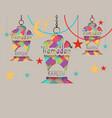 ramadan kareem greeting card three lanterns in vector image