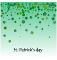 background with green clover leaves with space for vector image vector image