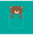 Bear sleeping in the pocket Cute cartoon character vector image vector image