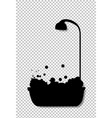 black silhouette of bathtub with shower head full vector image