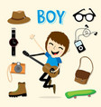 boy smart cartoon vector image vector image