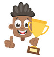 boy with trophy on white background vector image