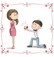 boyfriend and girlfriend getting engaged cartoon i vector image vector image