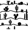 cactuses seamless pattern silhouette cactuses vector image vector image