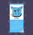 calendar for october 2019 vector image vector image