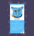 calendar for october 2019 vector image vector image