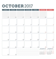 Calendar Planner Template for October 2017 Week vector image