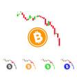 candlestick chart bitcoin fall icon vector image vector image