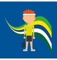 cartoon tennis player brazilian label vector image vector image