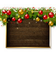 christmas decoration on old wooden board vector image vector image