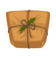 christmas parcel in craft paper with rope and vector image