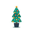 christmas tree in a pot decorated with a fairy vector image