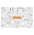 Cinema doodle set with lettering vector image