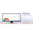concept online education wide large-format vector image