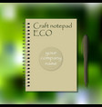 ecology spiral bound note craft paper notepad vector image