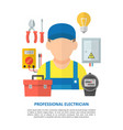 electrician with electrical equipment and tools vector image vector image