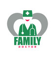 family doctor service promotional emblem with vector image vector image