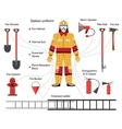 firefighter with extinguishing icons vector image vector image