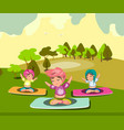 group of women doing yoga in the park vector image vector image