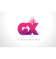 gx g x letter logo with pink purple color and vector image