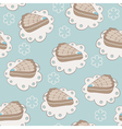 Hand drawn portion of cakes seamless pattern vector image