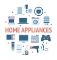 Home electronics appliances circle vector image